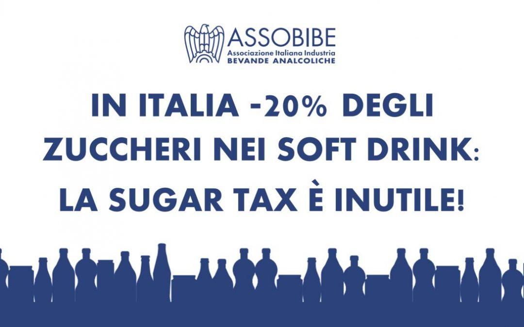 ASSOBIBE: IN EUROPA E ITALIA CALO COSTANTE DI ZUCCHERI IN SOFT DRINK, SUGAR TAX INUTILE